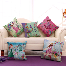 "Square 18"" Flowers Girls Printed Cartoon Sofa Throw Cushions Butterfly Living Room Decorative Pillows Without Filling(China)"