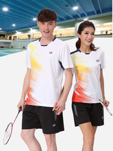 Turn-down collar Couples mounted Men and women's Tennis Shirts shorts kit sports Badminton Table Tennis clothing W1024