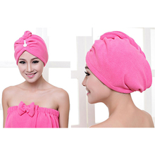 Lady Turban microfiber fabric thickening dry hair Towel super absorbent quick-drying hair Shower Towel Bath towel IC937344(China)