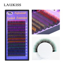 Color Eyelash Extension 12rows/case 6 Colors Rainbow Colored Soft False Eyelash Party Costume Lashes LAUKISS