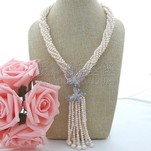 N090503 18'' 6 Strands White Pearl Necklace CZ Pendant(China)