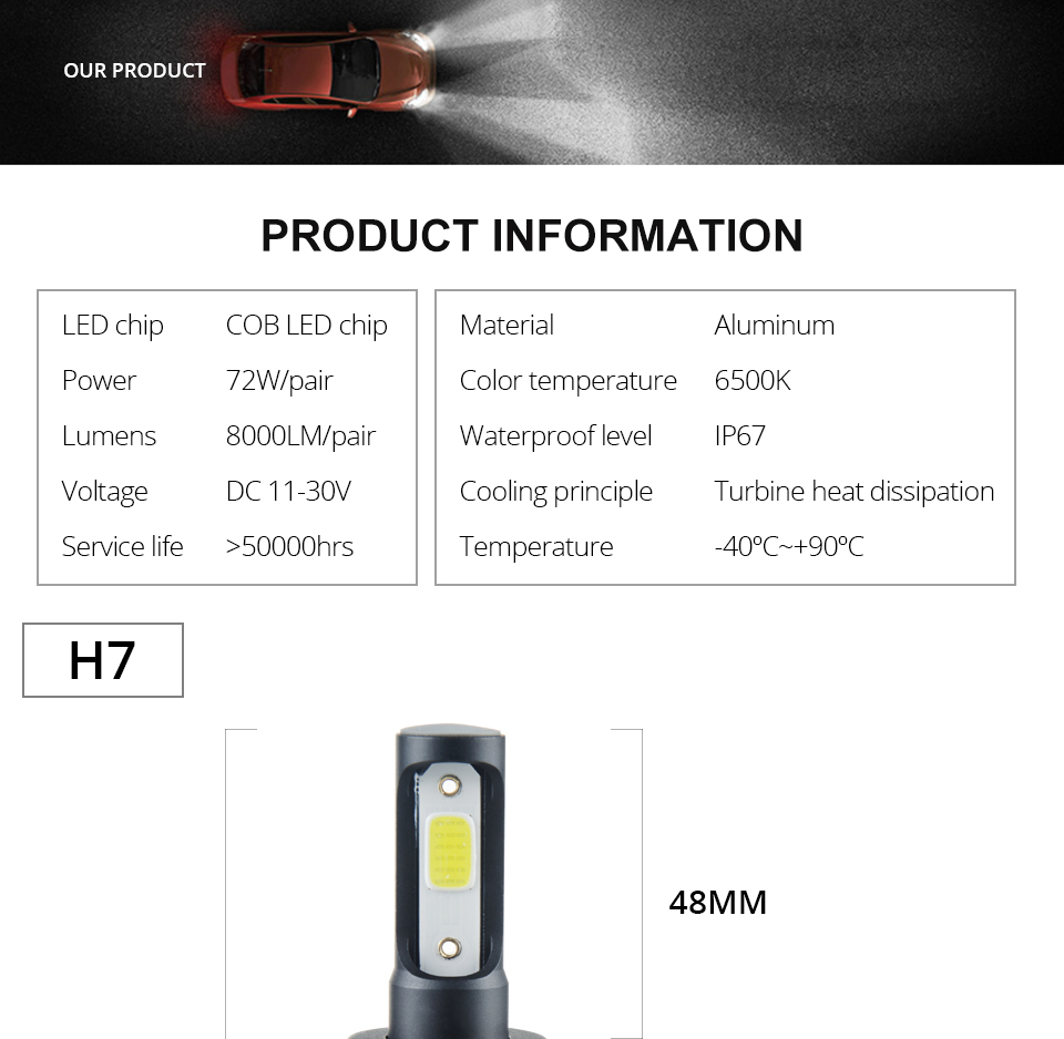 Aceersun H7 H4 LED Bulb Car Headllight H4 H1 H11 9005 72W mini cob chip 12V 24V Auto Headlamp Lamps 8000LM 6500K 4300K Fog Light (16)