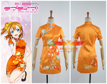 Love Live! August SR Kousaka Honoka Cheongsam Cosplay Costume Any Size Custom Short Sleeve Girl Orange Mini Dress W0500