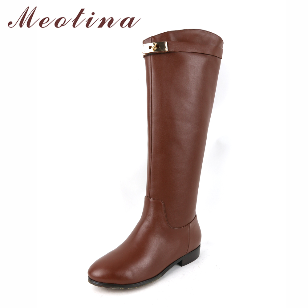 Meotina Genuine Leather Women Riding Boots Low Heels Knee High Boots Motorcycle Boots Brand Design Autumn Female Shoes Brown<br>