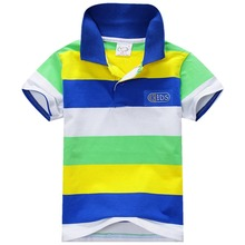 New Summer 1-7Y Baby Children Boys Striped T-shirts Kids Tops Sports Tee Polo Shirts Clothing