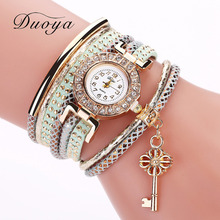 Fashion New Brand Women Girl Watches Chic Diamond Circle Pendant Flower Watch Key Chain montre femme saat