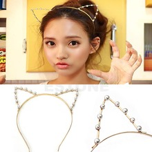 GRAU Silver/Golden Sexy Cat Ear Girl Head Band Beaded Fashion Hair Band Metal-Y107