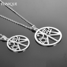FUNIQUE Charms Stainless Steel Peace Symbol Round Necklace Pendant Silver Tone Moon Star  Pendants For Women Men Jewelry 52x40mm