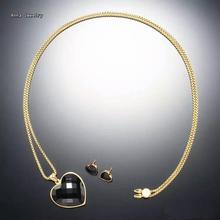 Romantic Designer Heart Shape Necklace/EarringJewelry Set.Stainless Steel with Black Onyx.Nice Jewelry Sets For Christmas Gift