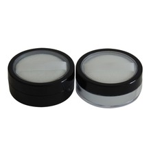 5G empty plastic round black loose powder case with sifter and puff sponge,eyeshadow container,power container