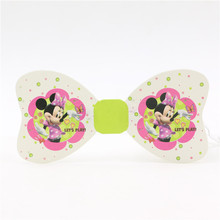 Children Party Supplies Bowtie Birthday Decorative Cravat Performance Supplies Minnie Mouse Paper Butterfly For Girls 6Pc