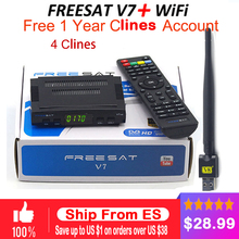 2018 clines for 1 year DVB tuner satellite HD receiver freesat v7 + 1pc usb wifi support HD clines newcamd tv sat decoder(China)