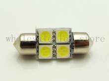 100pcs wholesale Car Interior 31mm White 5050 SMD 4 LED iFestoon Dome Map Light instrument Bulb 12V reading light door lamps(China)