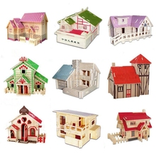 3D Kids DIY Wooden Puzzles house Model handmade Assembling Building Kits IQ Educational Toys for children puzzle 3d building(China)