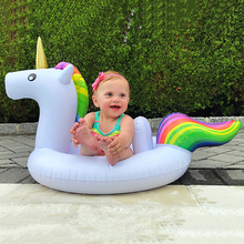 27 Inch Summer Swimming Pool Baby Inflatable Unicorn In Water Child Rainbow Hourse Floating Row kid Air Mattresses Swim Rings(China)