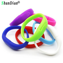 SHANDIAN Best selling colourful wrist band USB 2.0 Flash Drives thumb pen drive memory stick gift wholesale retail(China)