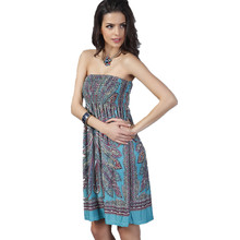 Strapless Dress Sexy Bohemian Style Print Soft Quality Cheap Clothes China Spring Summer Beach Vestidos Low Price Women Dress(China)