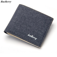 Baellerry Short Wallet Men Fashion Folding Design Mens Wallets Slim Sample Canvas Small Purses Card Holder Male Pocket Purse