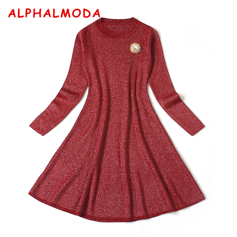 ALPHALMODA 2018 Spring Women Elegant Knitted Dress Long-sleeved Real Fur Brooch Sparkling Knitted Vestidos Party DressÎäåæäà è àêñåññóàðû<br><br>