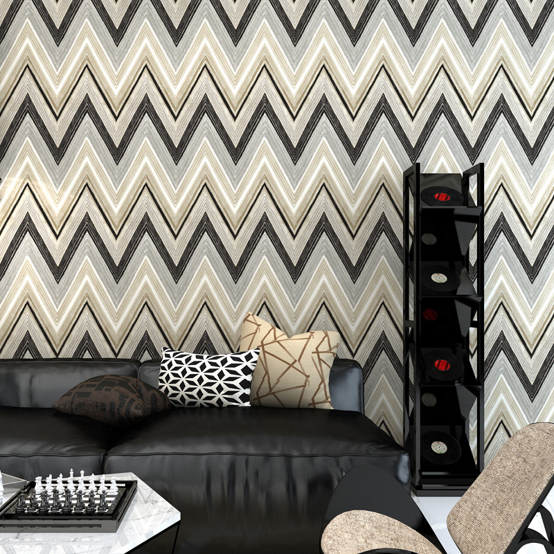 Modern Color Abstract Wave Stripe Non-Woven 3D Wallpaper Living Room TV Sofa Bedroom Background Wall Covering Wallpaper Roll 3 D<br>
