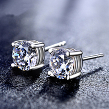 JEWELS Elegant Silver 925 Earrings For Women Girls Party Gifts Silver Plated Four Claw Earrings Hot Sale Fine Jewelry L041
