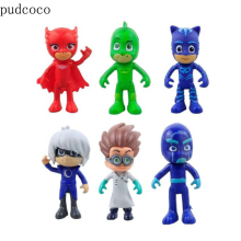 6Pcs Full Set Pj Masks Toy Figures Characters  PVC Toy Set Catboy Owlette Gekko Cloak Action Figure Toys