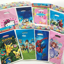 10pcs Spiderman Birthday Party Decorations Kids Gift Bag Pokemon Party Supplies Avengers Sofia Party Favors 25x16.4cm(China)
