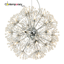 Led Crystal Ball Pendant Light Modern Dandelion Dining Room Restaurant Design Lamp Home Decor Chrome Fixture G4 Bulb 110-220V