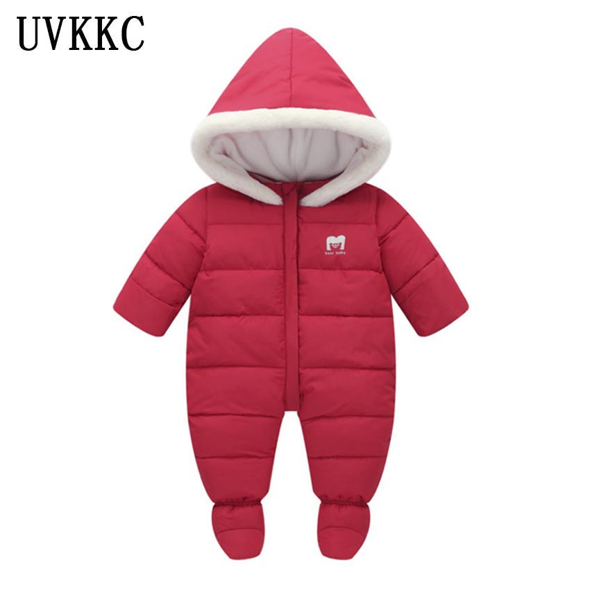 UVKKC Newborn baby girl rompers jumpsuits winter autumn long sleeve cotton corduroy hooded baby girls boys clothes set<br>