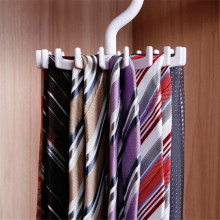 High Quality White Tie Storage Rack Rotating Hook Tie Holder 1 Piece Holds 20 Ties/Belts/Scarves Hanger D627(China)