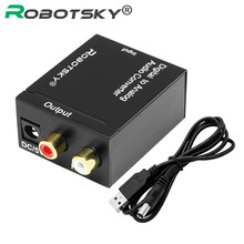 Robotsky Digital to Analog Audio Converter Adapter Optical Coaxial Toslink Signal to Analog Audio Cable Adapter for TV Box