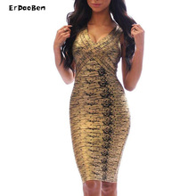 HIGH QUALITY Women bandage Celebrity summer style Dresses Club Party Bodycon Green Gold Red Drop Ship DR559(China)