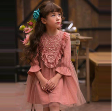 2016 New Spring Autumn Girl Korean Style Mesh LaceDress Kids Children Clothing Princess One Piece with Flare Sleeve