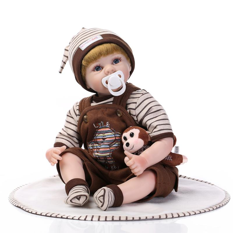 50-55cm Boy lifelike Baby Toys Silicone Reborn Baby Doll Blonde Implants Hair Brown Outfit Soft Touch Body Best Gift New Year<br><br>Aliexpress