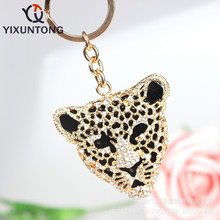 Cute cheetah Pendant keychain Fashion Rhinestone Crystal Creative ladies dress handbag wallet Jewelry Llavero Chaveiro(China)