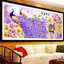 New Home Decoration 5d Diy Diamond Painting Peacock Peony Cross Stitch Diamond Embroidery Crystal Round Diamond Mosaic Pictures(China)