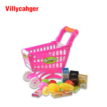 Mini Children Supermarket Plastic Shopping Cart with Full Grocery Food Playset Toy for Kids XC1302(China)