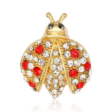 Kawaii Cute Gold Alloy Insect Crystal Ladybug Brooch Pins For Women Sweater Scarf Shoulder Suit Collar Corsage Pins Accessories(China)