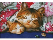 Available Cat Below Colorful Quilt Needlework Embroidery Package Cross Stitch Kit Factory Sale(China)