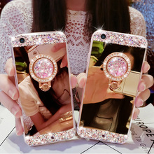 New Luxury PU Crystal Diamond Mirror Case Cover For IPhone 7 7 Plus 6 6S Plus 5 5S Bling Rhinestone Fundas With Finger Ring