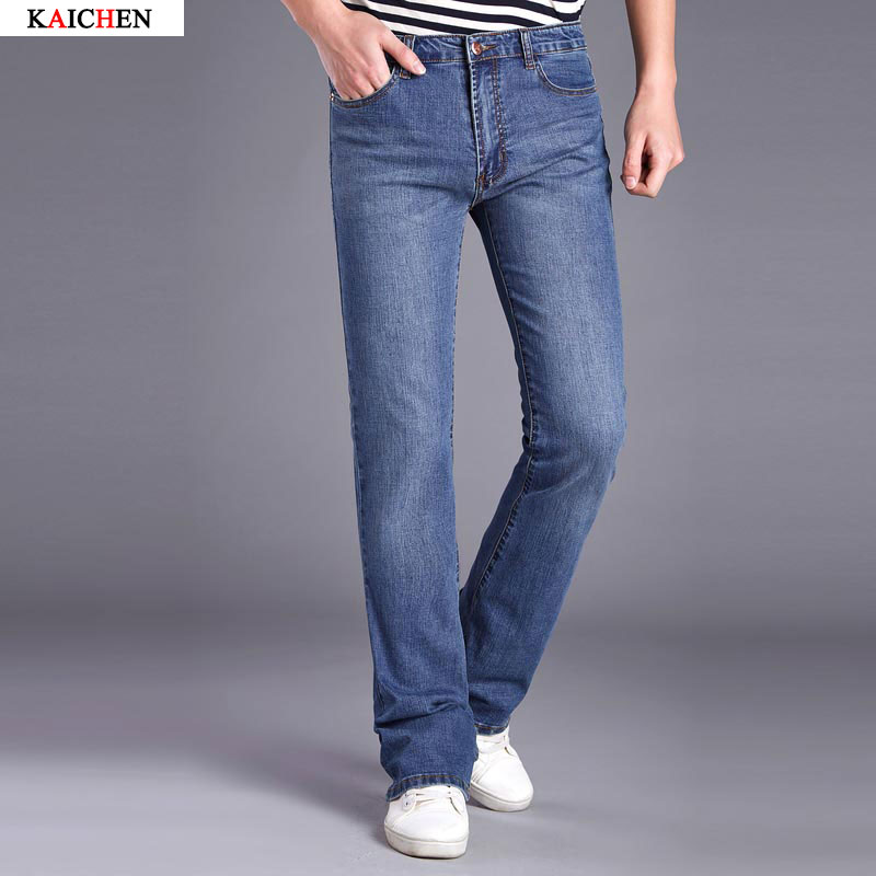 2017 Mens Flared Jeans Boot Cut Leg Flared Wlastic Slim Fit Mid Waist Male Designer Classic Denim Jeans Pants Bell Bottom JeansОдежда и ак�е��уары<br><br><br>Aliexpress