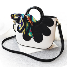 2017 women's handbag color block handbag petals shell bag casual shoulder bag messenger bag