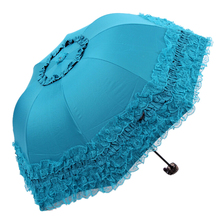 FJS!Women's Princess Dome/Birdcage Sun/Rain Folding Umbrella For Wedding Lace Trim blue