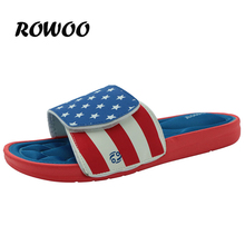 Rowoo Fashion 2016 Men's Massage Slip on Cozy Memory Foam Flip Flops and Pool Shoes