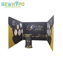 Trade Show Booth 10ft Width Tension Fabric Banner Display Wall With One Side Printing And Portable Advertising Podium Oval Table