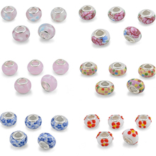 Silver Plated Charms European Murano Glass Beads Fit Pandora Bracelets Necklaces Pendant Accessories Beads Jewelry DIY