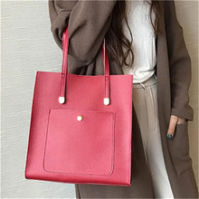 2Pcs women messenger bags pu Leather Zipper large Simple tote bag with Handbag 2017 luxury brand Black Red Shoulder bags(China)