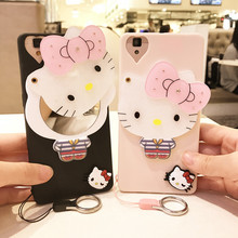 3D Hello Kitty Mirror Phone Cases For iPhone 6 6s Silicone Cartoon Soft TPU Cute Case Cover For iPhone 6 7 plus 5S SE +Lanyard