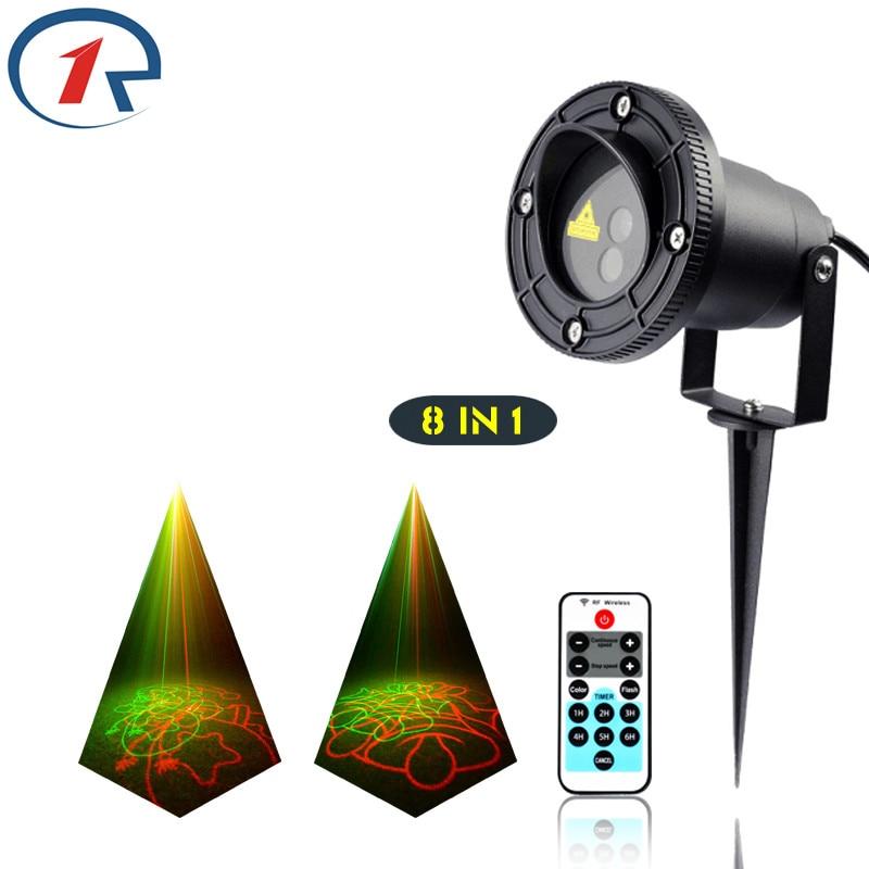 ZjRight IR Remote Christmas 8 patterns laser lights waterproof outdoor projection laser stage light dj lights disco effect light<br>