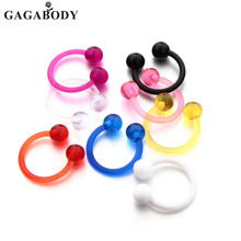 Christmas 14G 8 Colors Acrylic Nose Hoop Nose Rings Body Piercing Jewelry Septum Non Piercing Hanger Clip On Jewelry